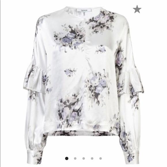 a486f4d9 Ganni Tops | Floral Print Ruffle Blouse | Poshmark
